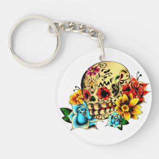 Sugar Skull Single-Sided Round Acrylic Key Ring