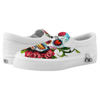 Sugar Skull Slip On Shoes