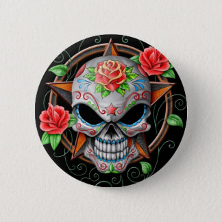 Sugar Skull Star, black 6 Cm Round Badge