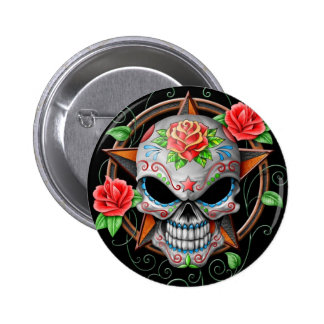 Sugar Skull Star, black 6 Cm Round Badge
