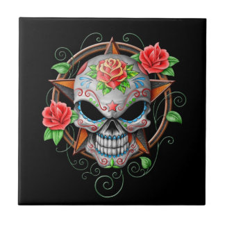 Sugar Skull Star, black Small Square Tile