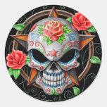 Sugar Skull Star, black Stickers