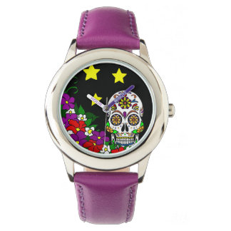 Sugar Skull, Stars and Flowers Watch