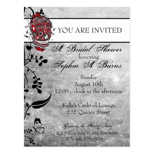 Sugar Skull Tattoo Design Shower Invitation Postcard