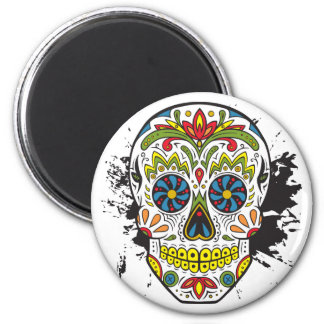 Sugar Skull, Tattoo Skull, Mexican Skull 6 Cm Round Magnet