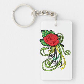 Sugar Skull Tattoo Style Dia Des Los Muertos Double-Sided Rectangular Acrylic Key Ring