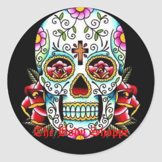 sugar skull, The Body Shoppe Round Sticker