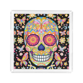 Sugar Skull Tray - Day of the Dead Art Tray