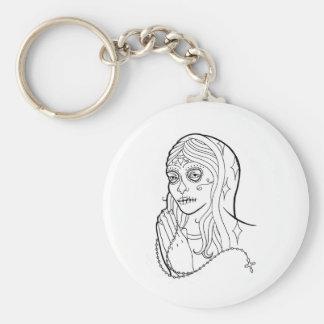 Sugar Skull Virgin Basic Round Button Key Ring