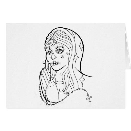 Sugar Skull Virgin Greeting Card