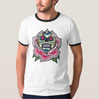 Sugar Skull w/ Fire and Lotus T-Shirt