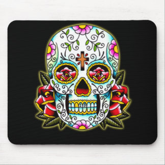 Sugar Skull w/ flowers Mouse Pad