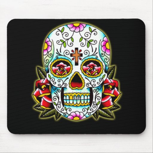 Sugar Skull w/ flowers Mouse Pads