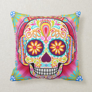 Sugar Skull Wearing Headphones Pillow