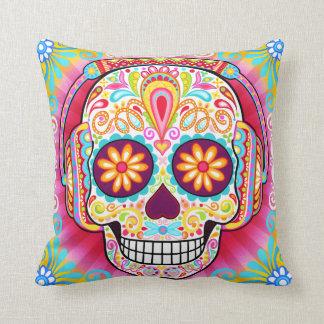 Sugar Skull Wearing Headphones Pillow Throw Cushion