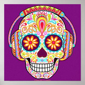 Sugar Skull Wearing Headphones Print or Poster