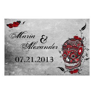 Sugar Skull Wedding Date Poster