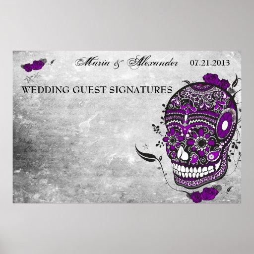 Sugar Skull Wedding Guest Signature Poster