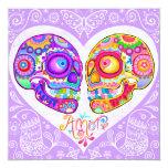 """Sugar Skull Wedding Invitations - Day of the Dead 5.25"""" Square Invitation Card"""