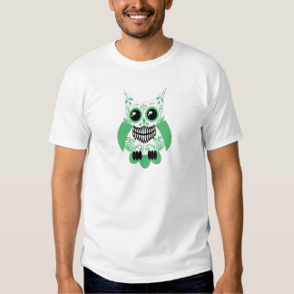 Sugar Skull White Green Owl.png T Shirt
