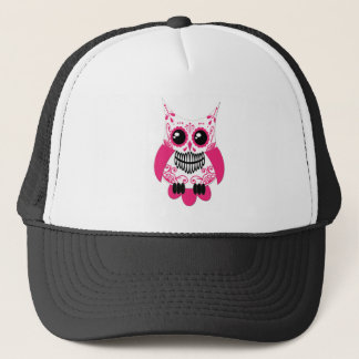 Sugar Skull White Pink Owl Trucker Hat