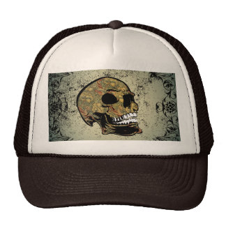 Sugar skull with beautiful floral elements cap