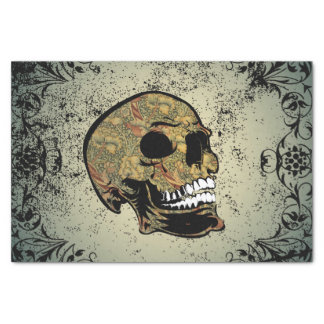 Sugar skull with beautiful floral elements tissue paper