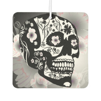 Sugar skull with beautiful flowers