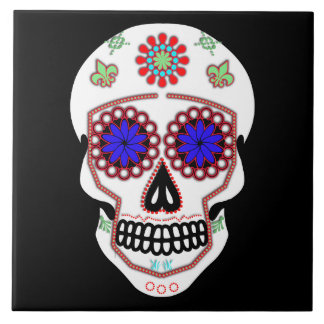 Sugar Skull With Blue Eyes and Green Fleur de Lis Tile