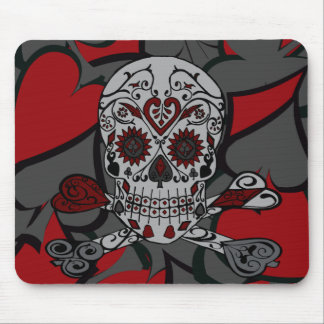 Sugar Skull with Crossbones Playing Card Design Mouse Mat