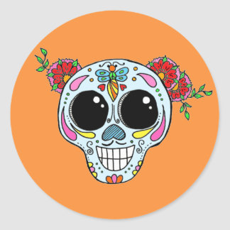 Sugar Skull with flowers and bee sticker