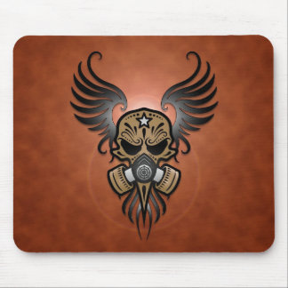 Sugar Skull with Gas Mask & Wings (brown) Mouse Mat