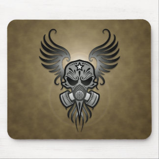 Sugar Skull with Gas Mask & Wings (grey) Mouse Pad
