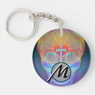 Sugar skull with rainbow colored background Double-Sided round acrylic key ring