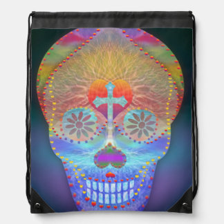 Sugar skull with rainbow colored background drawstring bag