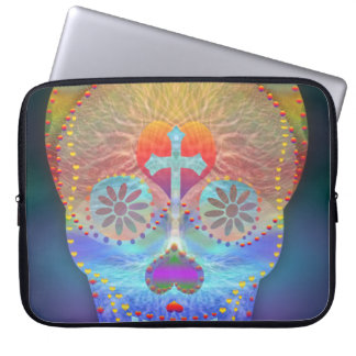 Sugar skull with rainbow colored background laptop sleeve