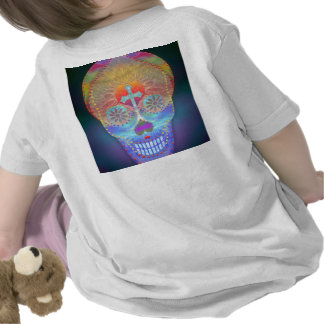 Sugar skull with rainbow colored background t-shirts
