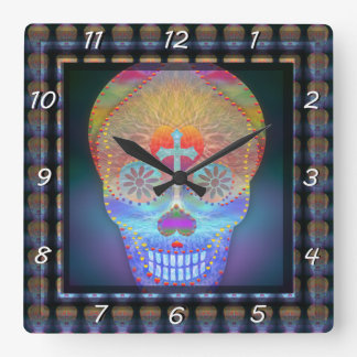Sugar skull with rainbow colored background wall clocks