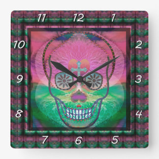 Sugar skull with rainbow colored background wallclock