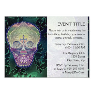 Sugar skull with rainbow colors, hearts 11 cm x 16 cm invitation card