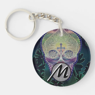 sugar skull with rainbow colors, hearts Double-Sided round acrylic key ring