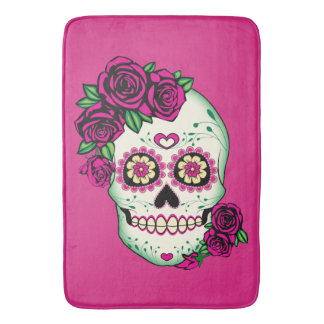 Sugar Skull with Roses Bath Mat