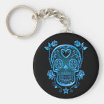 Sugar Skull with Roses, blue Basic Round Button Key Ring