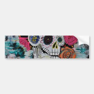 Sugar Skull with Roses Bumper Sticker