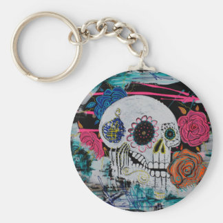 Sugar Skull with Roses Keychain