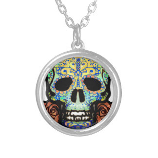 Sugar Skull with Roses Necklaces