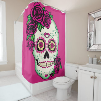 Sugar Skull with Roses Shower Curtain