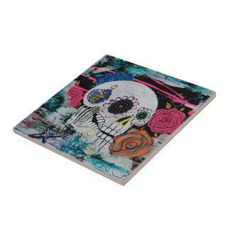 Sugar Skull with Roses Small Square Tile