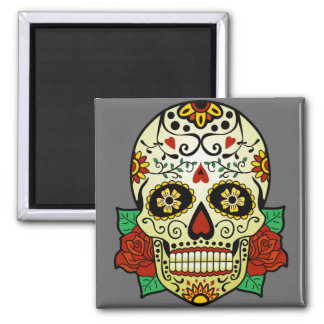 Sugar Skull with Roses Square Magnet