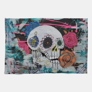 Sugar Skull with Roses Tea Towel